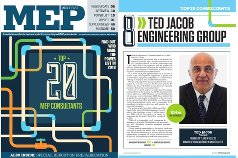 TJEG is listed as #8 on the 2018 edition of the Top 20 MEP Consultants in the Middle East