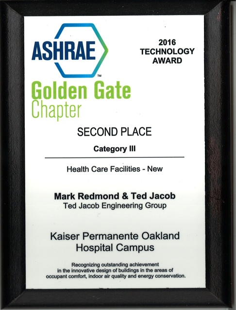 ASHRAE Golden Gate Chapter - Second Place, Category III, 2016 Technology Award